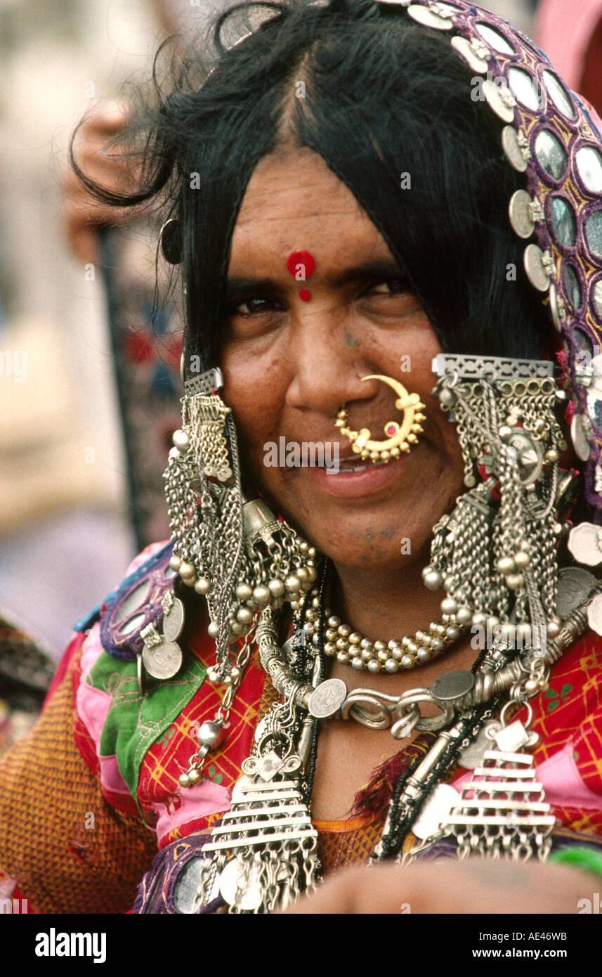 India Goa Mapusa market head of bejewelled Banjara tribal woman Stock Photo  - Alamy