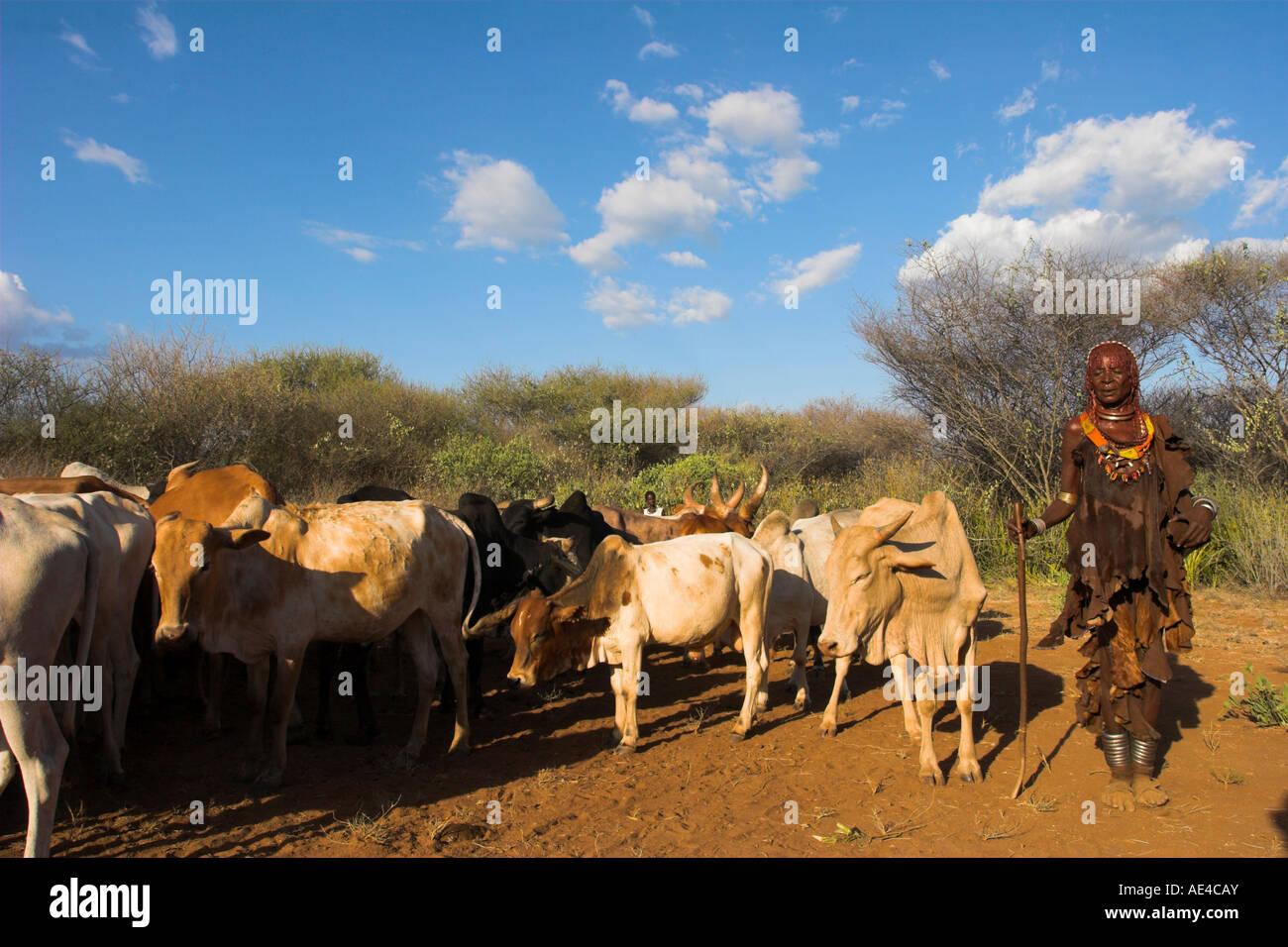 Ritual dancing, Jumping of the Bulls initiation ceremony of the Hamer (Hamar) people, Turmi, Lower Omo Valley, Ethiopia, - Stock Image