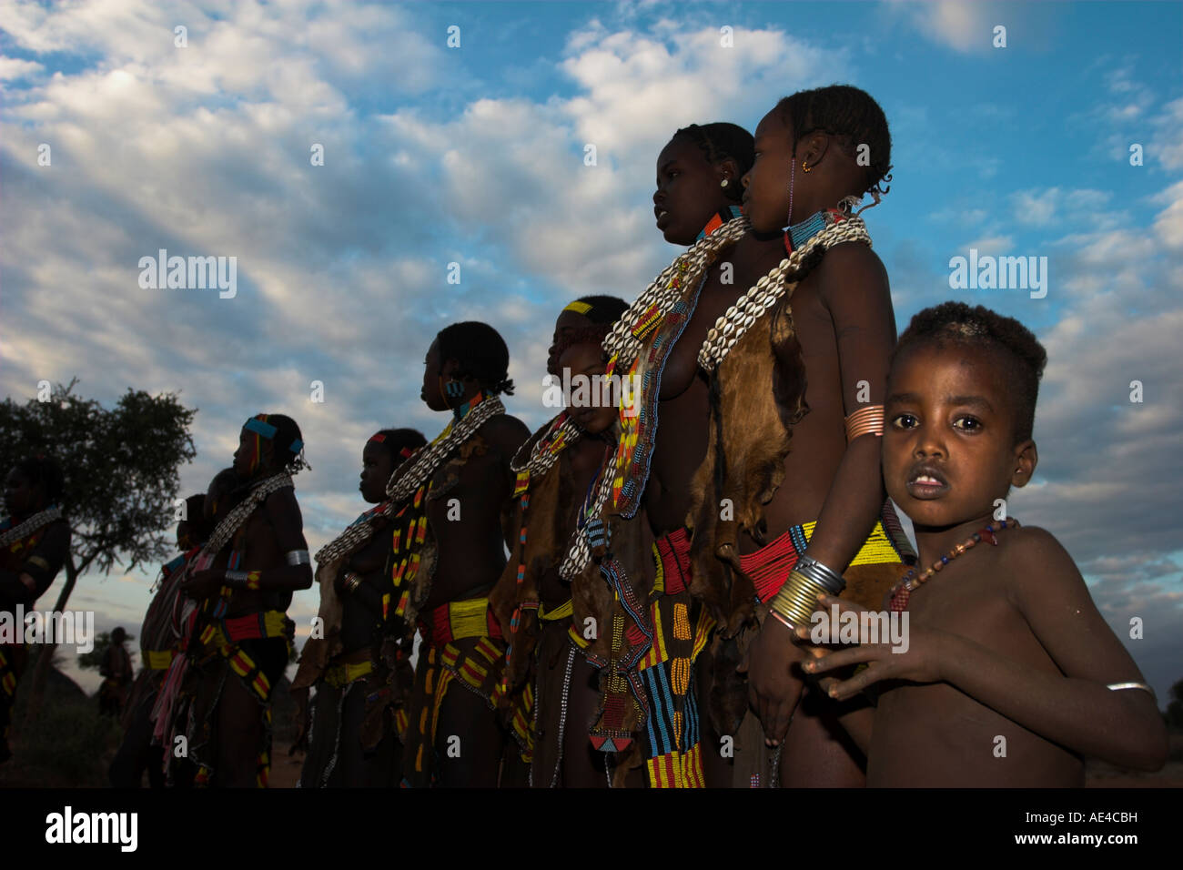 Hamer (Hamar) people at Evangadi dancing (Hamer night dance), Dombo village, Turmi, Lower Omo Valley, Ethiopia, Stock Photo