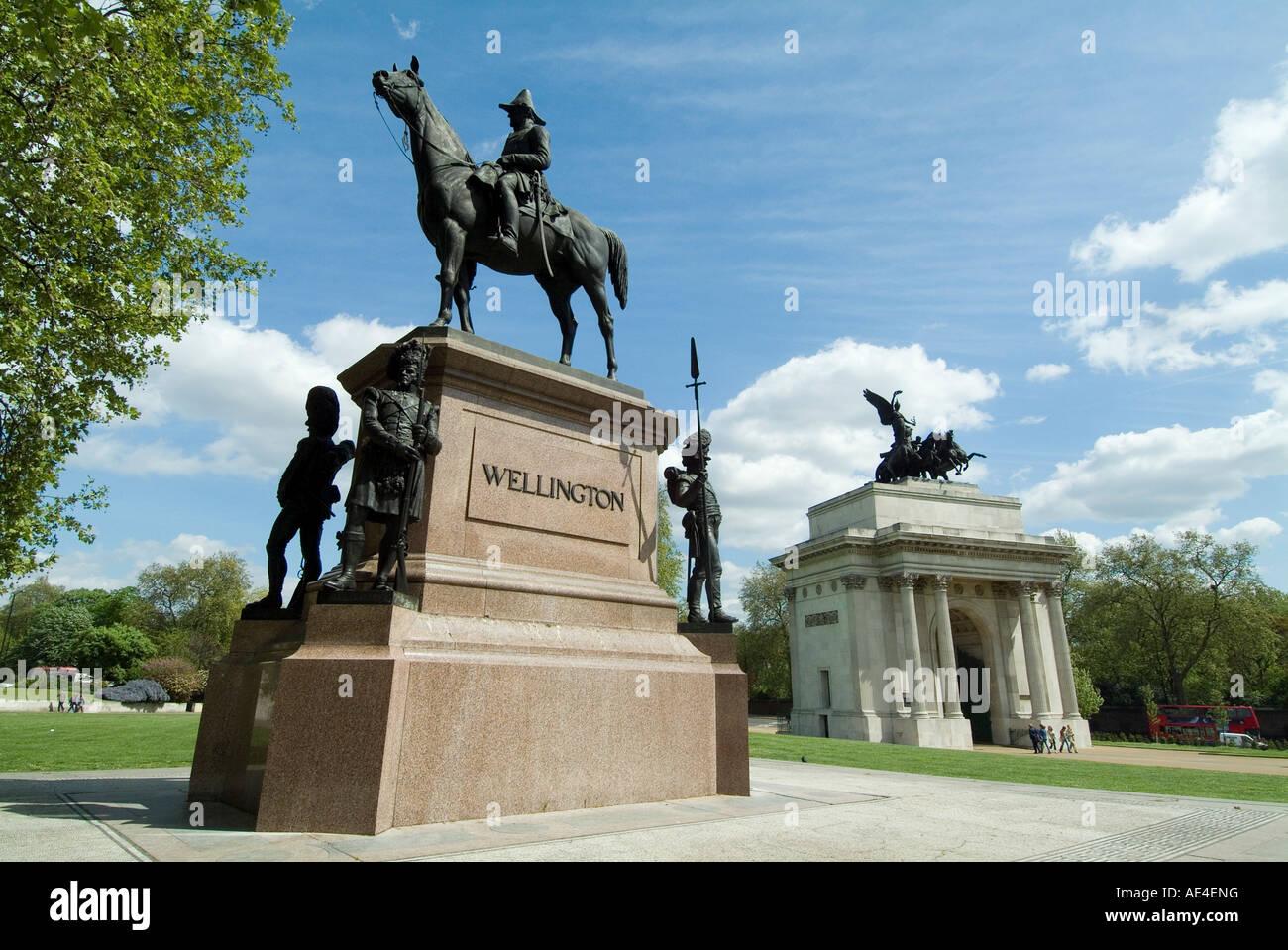 Statue of the Duke of Wellington, Hyde Park Corner, London, England, United Kingdom, Europe - Stock Image