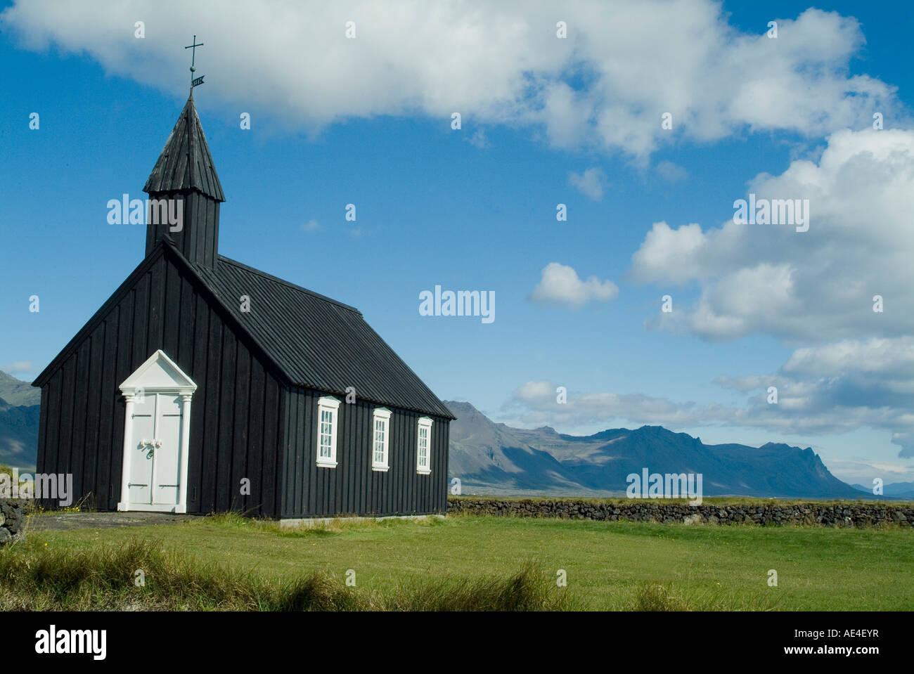 Small local church, Budir, Iceland, Polar Regions - Stock Image