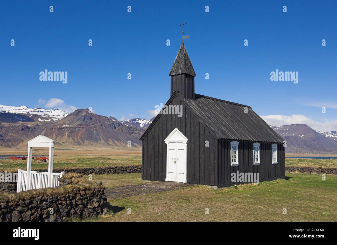 Black timber church at Budir, Snaefellsnes Peninsula, North West area, Iceland, Polar Regions - Stock Image