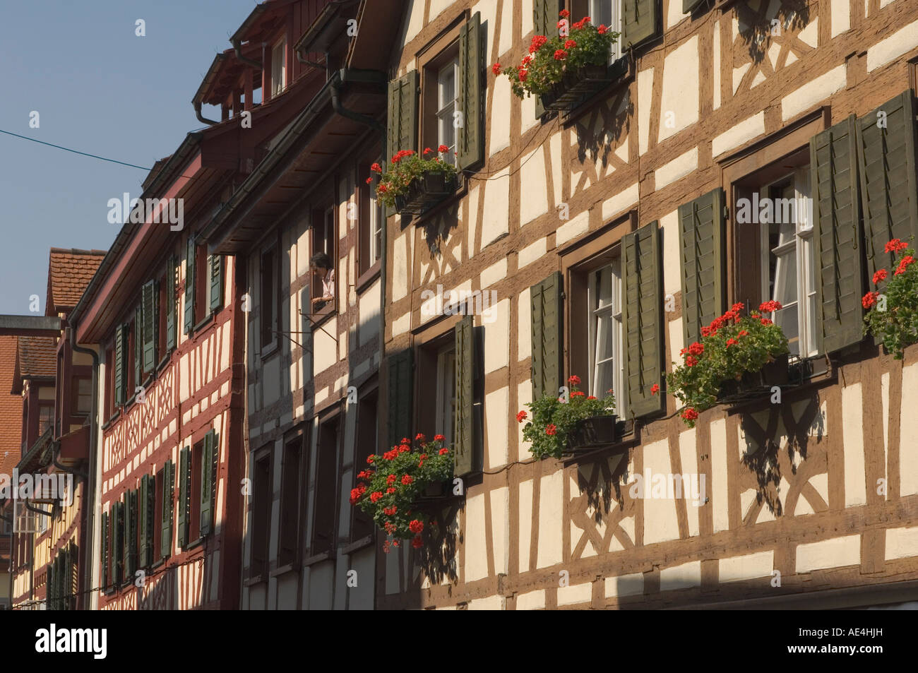 Traditional architecture, buildings in main square, Meersburg, Baden-Wurttemberg, Lake Constance, Germany, Europe - Stock Image