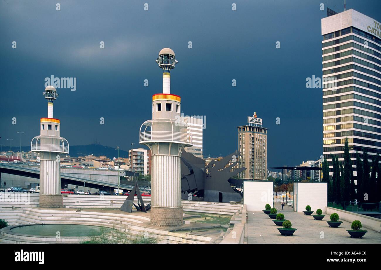 Barcelona Park de l Espanya Industrial Barcelona former textil factory thunderstorm Stock Photo