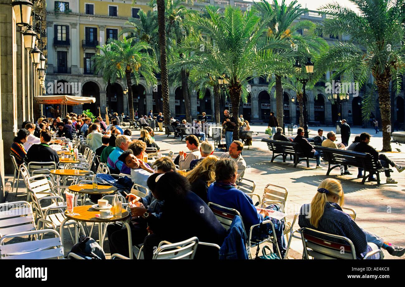 Barcelona Plaze Real palm trees tourists  Stock Photo
