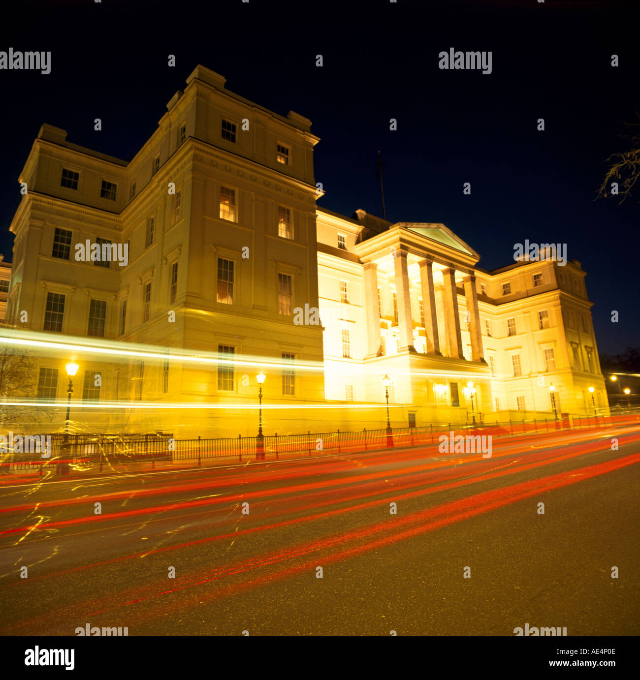 Lanesborough Hotel at night with car light trails London SW1 England  - Stock Image
