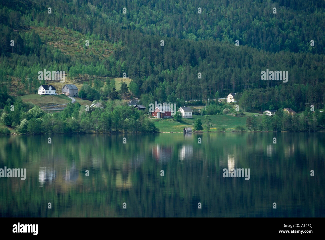 Houses near Olden, Nordfjord, Norway, Scandinavia, Europe - Stock Image