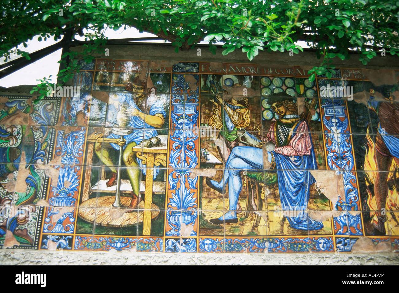 Decorative tiles, Isola Bella, Piedmont, Italy, Europe - Stock Image