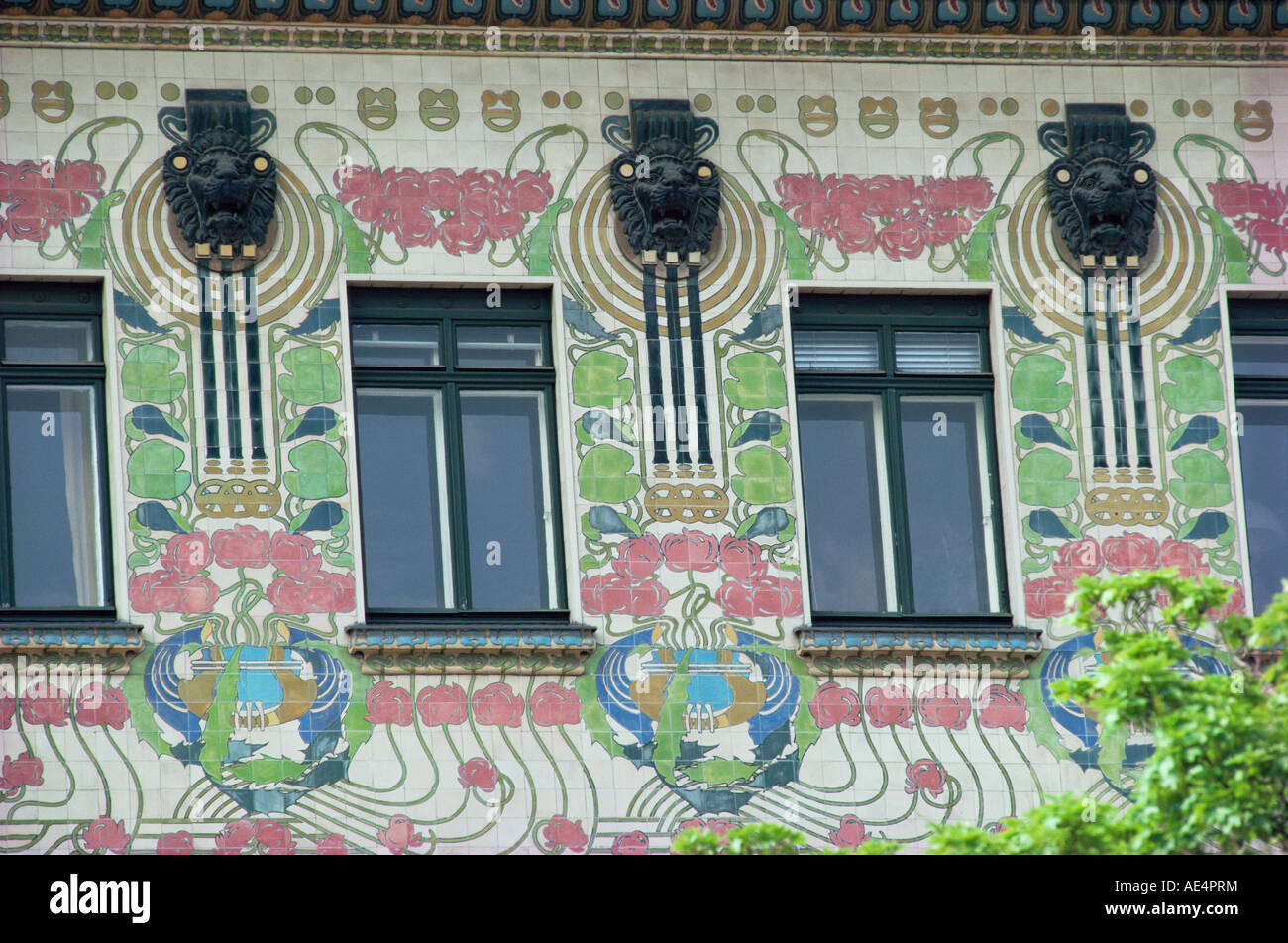 Detail of house decoration, Secessionist, Otto Wagner, Wienzele Street, Vienna, Austria, Europe - Stock Image