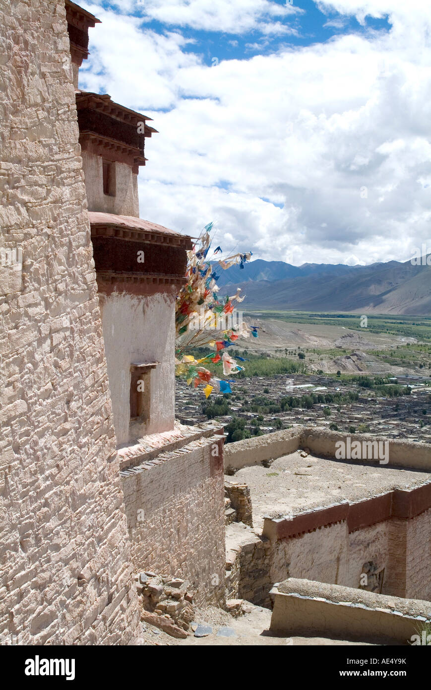 View from Fort, Gyantse, Tibet, China, Asia - Stock Image