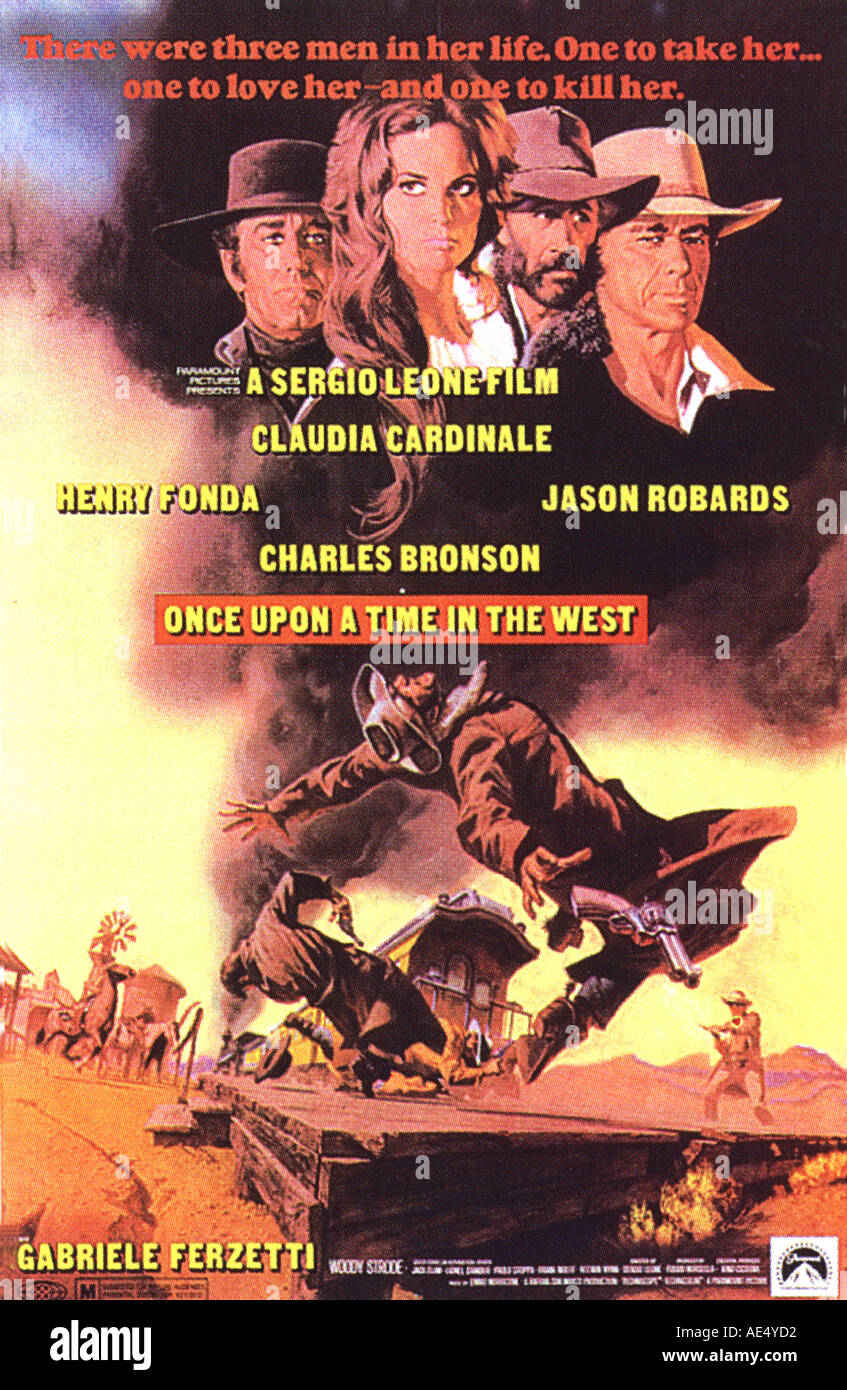 ONCE UPON A TIME IN THE WEST poster for 1969 film produced by Sergio Leone - Stock Image