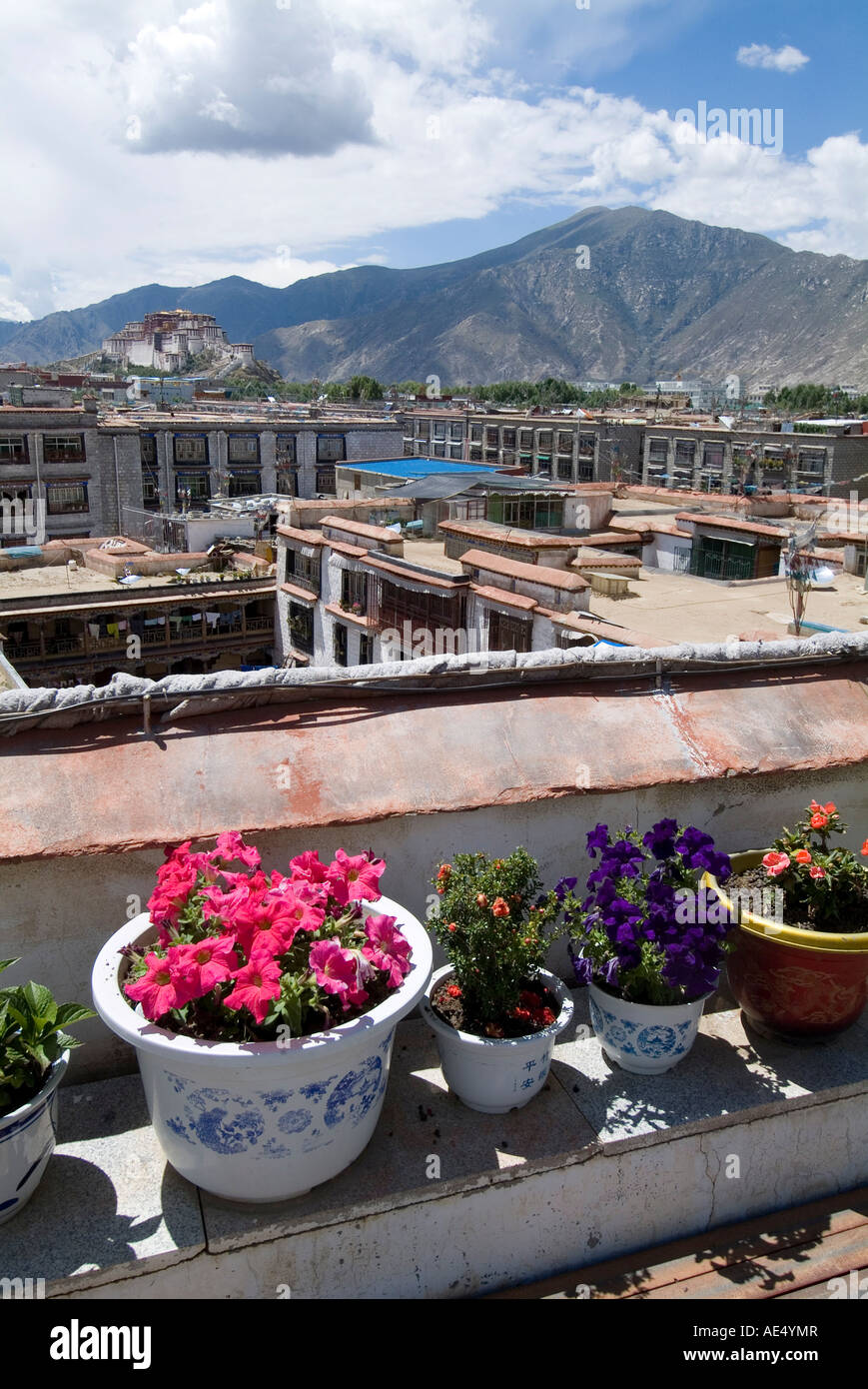 View over Lhasa looking towards Potala Palace, Lhasa, Tibet, China, Asia - Stock Image