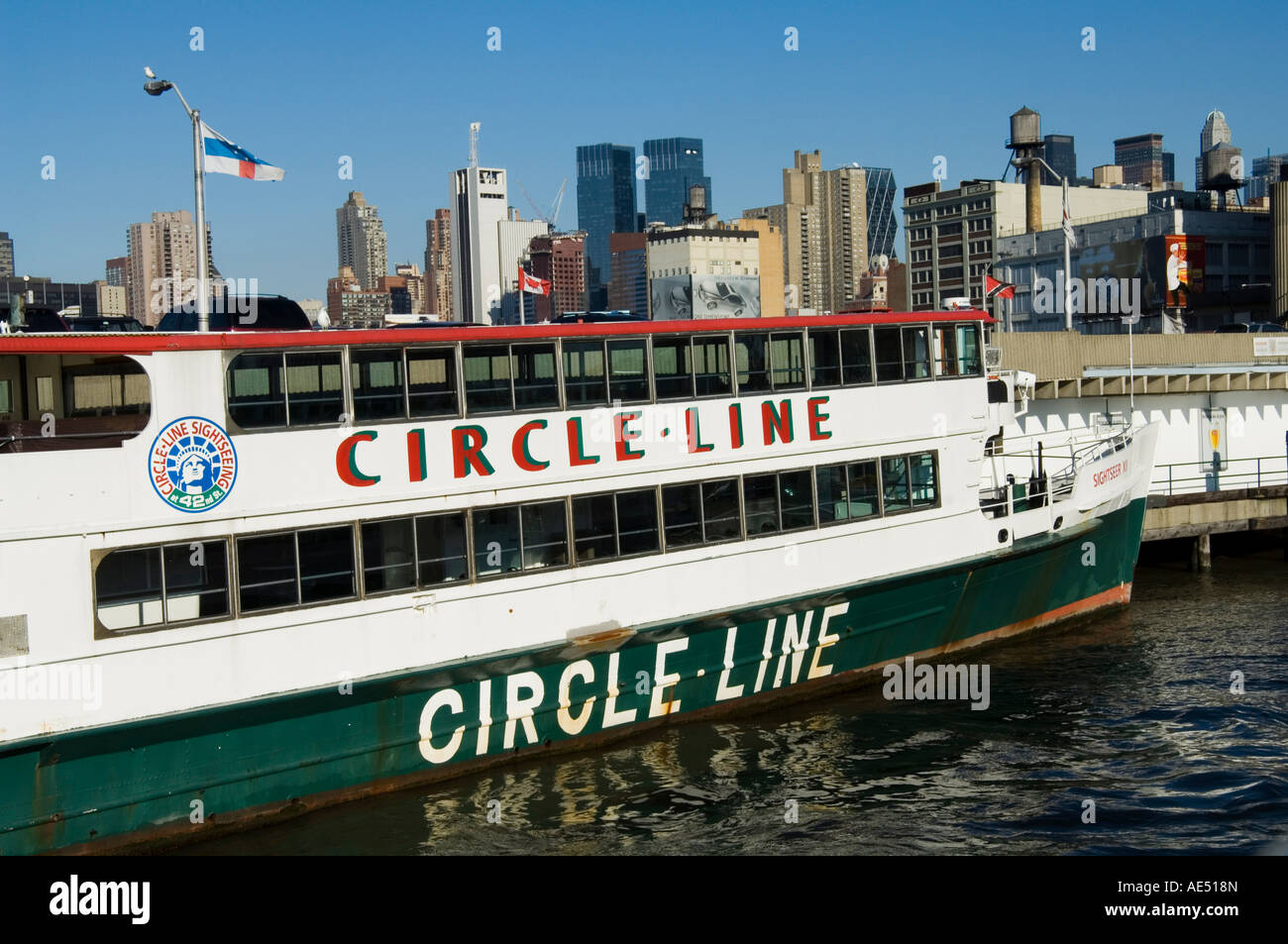 Circle Line tourist boats going from 42nd Street terminal, Manhattan, New York City, New York, United States of - Stock Image