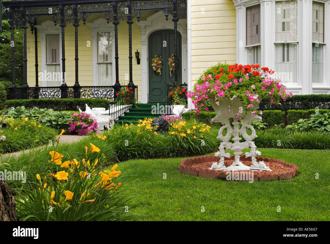 Flower Garden In Front Yard Of Home On Mansion Row New Albany Indiana