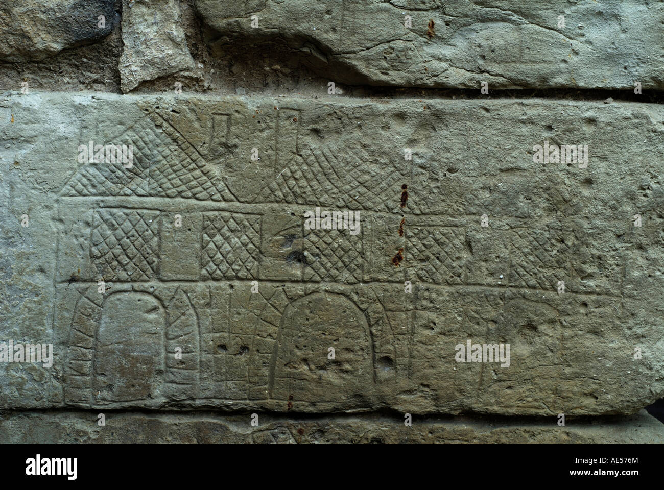 Prisoner's graffiti scratched on wall of Poterne, Preuilly-sur-Claise (37290), sud Touraine, France. - Stock Image