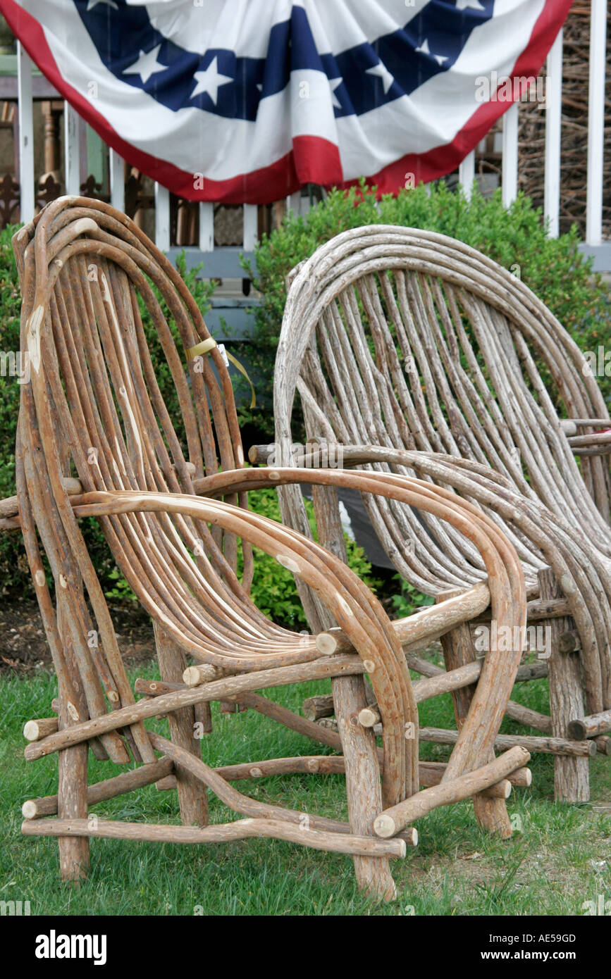 Virginia Purcellville Twigs Wood Branch Chair   Stock Image