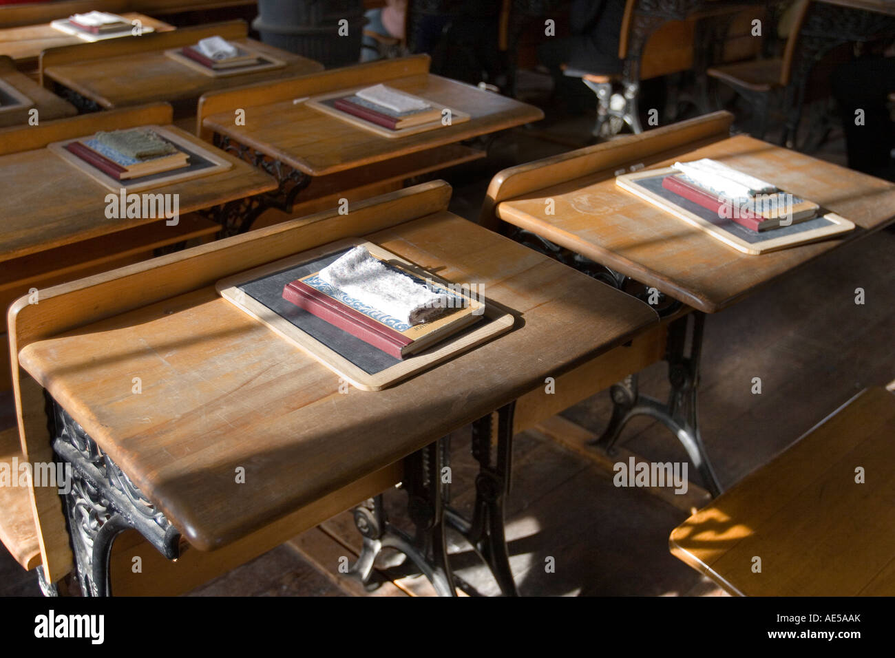 Old Style Classroom Desks In Replica Of 1800s Era One Room Schoolhouse With  Chalkboards Books And Cloth Erasers