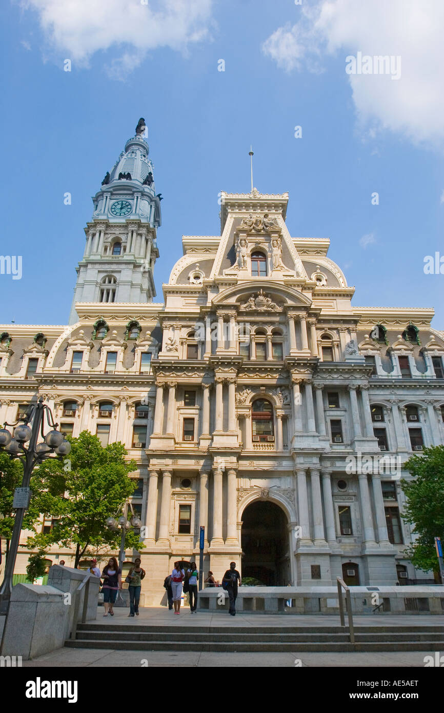 French Second Empire architecture of granite Philadelphia City Hall and Clock Tower with statue of William Penn - Pennsylvania Stock Photo