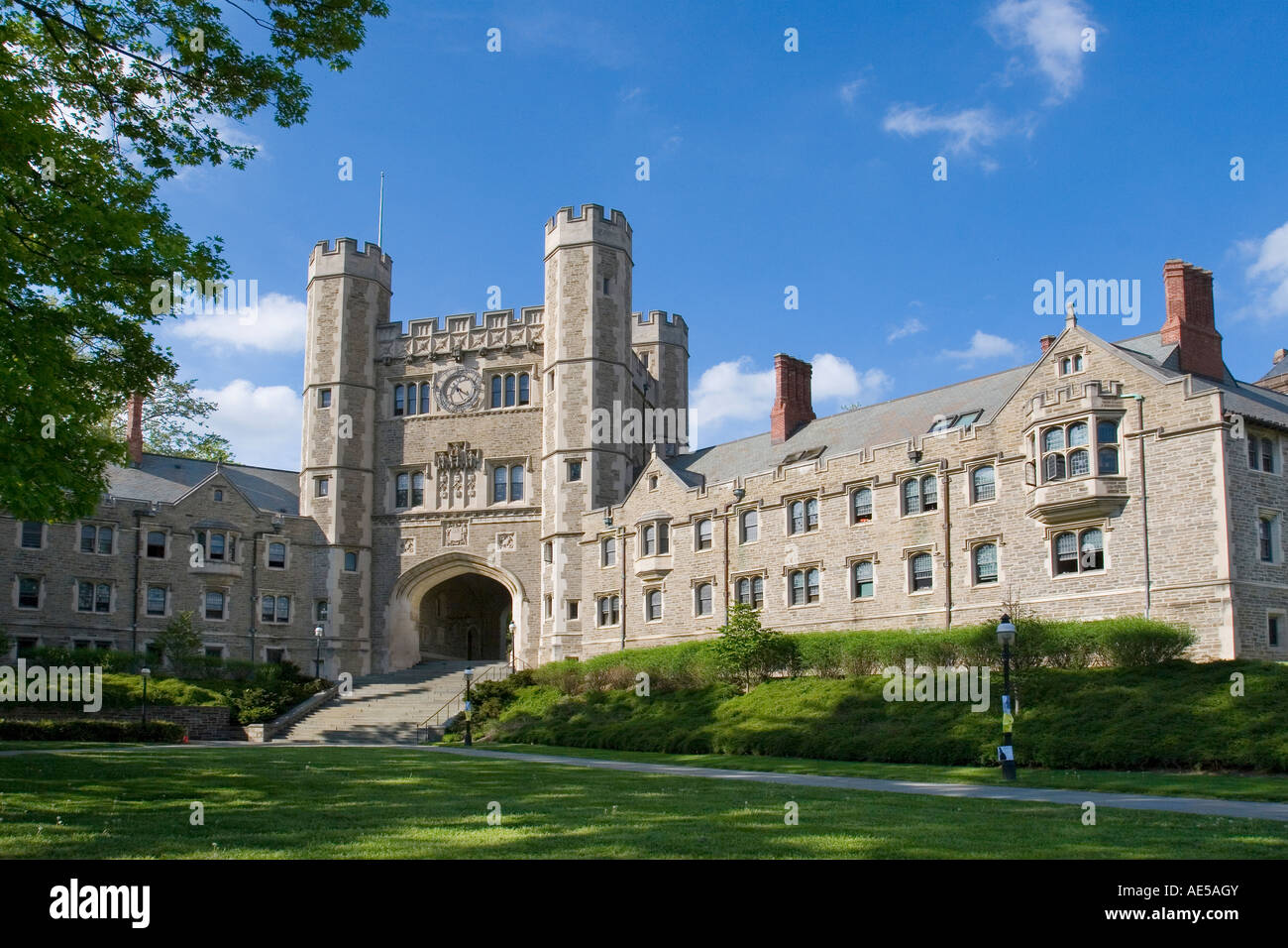 Buyers Residential and Blair Hall with clock tower dorms at Princeton University - Collegiate Gothic architecture - Stock Image