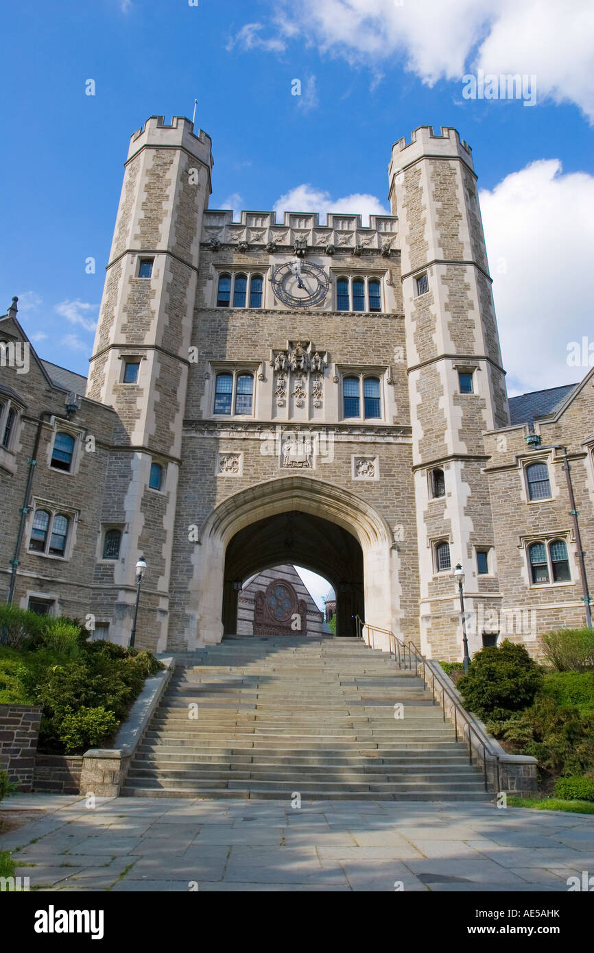 Collegiate Gothic architecture of Blair Hall with clock tower a residential hall at Princeton University New Jersey - Stock Image