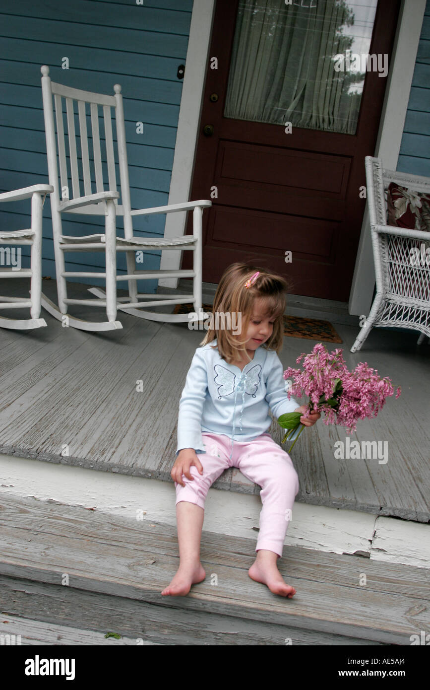 Cool Virginia Round Hill Girl Flowers Porch Rocking Chair Stock Gmtry Best Dining Table And Chair Ideas Images Gmtryco