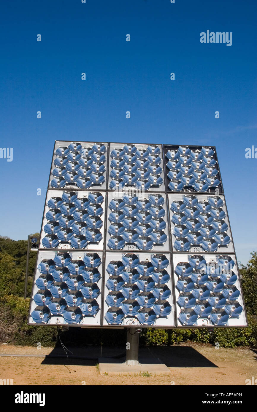 Solar panel of concentrator photovoltaic cells - efficient alternative solar energy technology - Stock Image