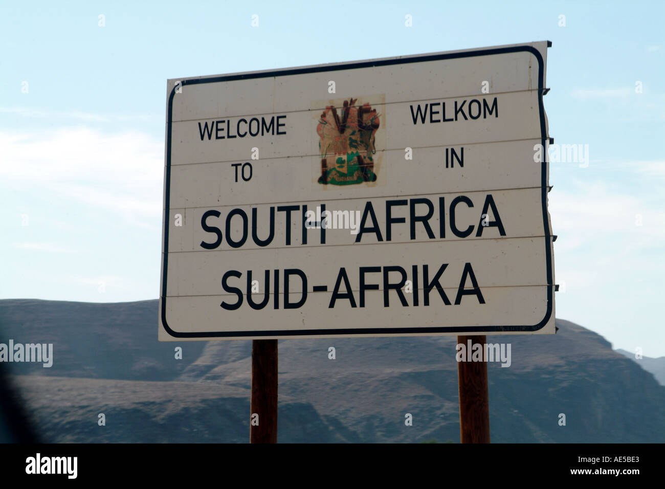 South Africa Border with Namiba Welcome Sign - Stock Image