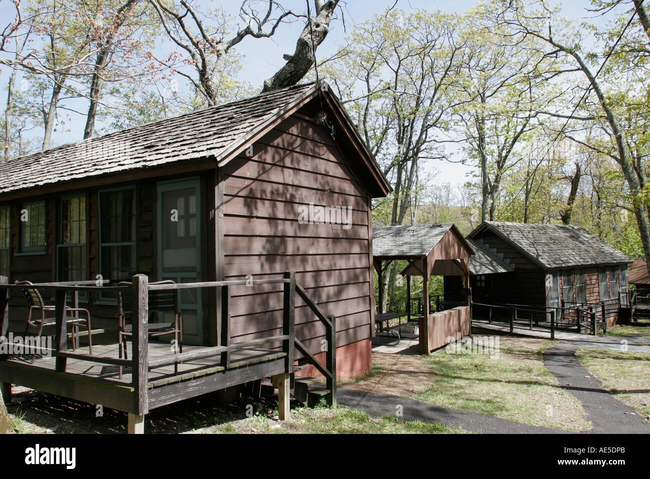 Shenandoah National Park VirginiaLewis Mountain Cabins former Negro segregated rental vacation cabins - Stock Image