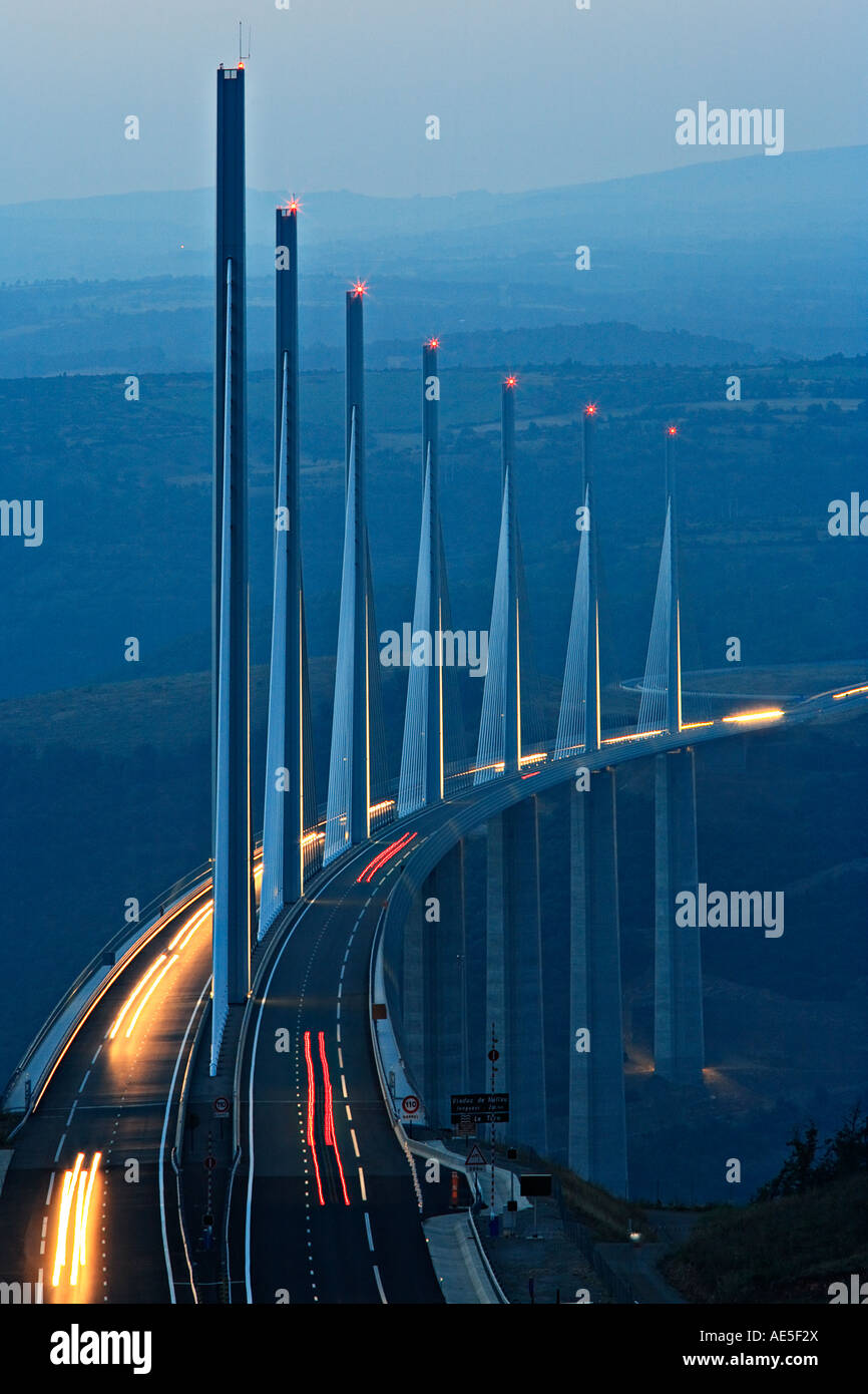 Bridge viaduct of Millau at dusk, Midi Pyrenees, France. - Stock Image