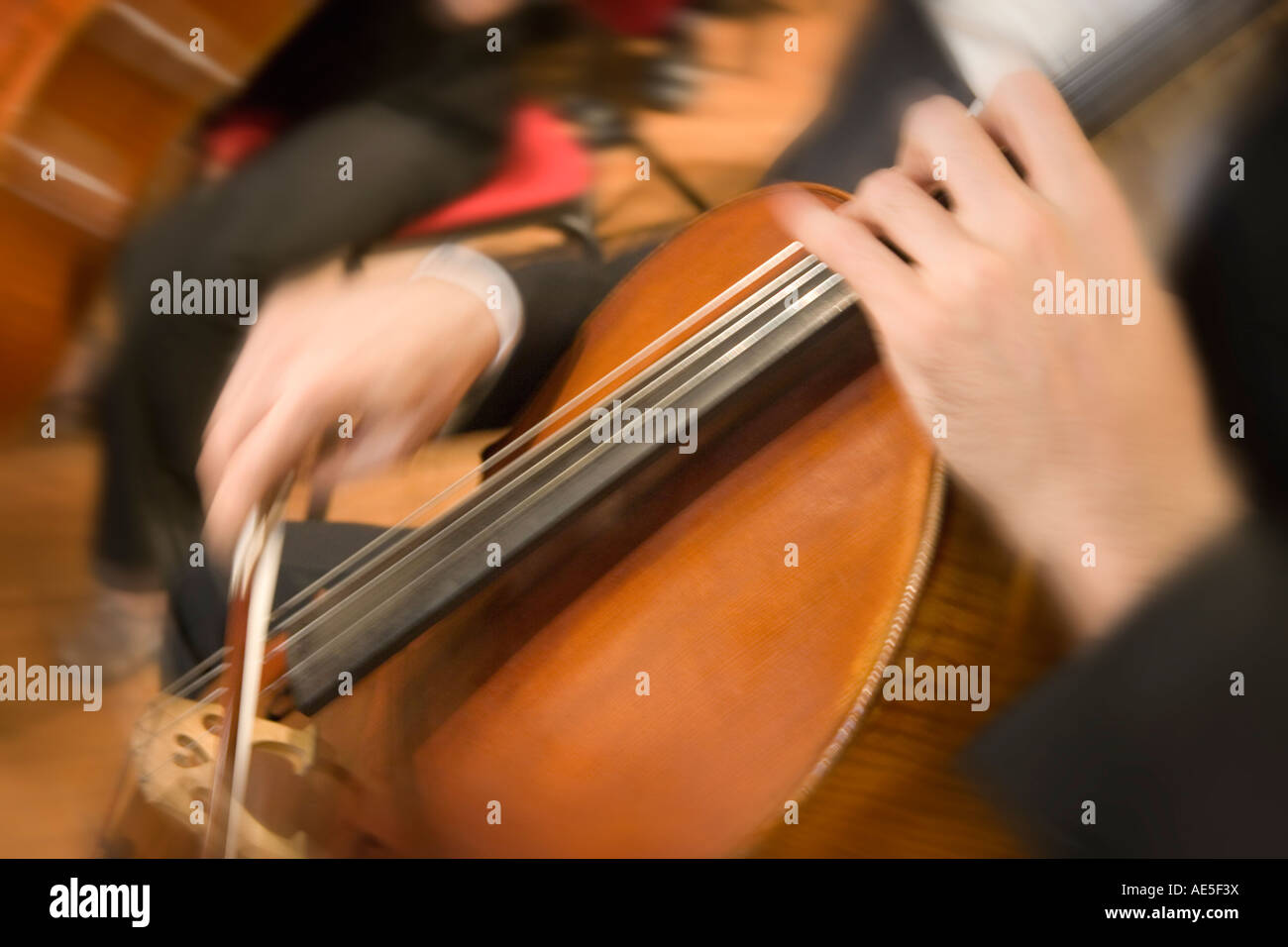 Classical Music Orchestra cellist playing a Cello during a concert - Stock Image