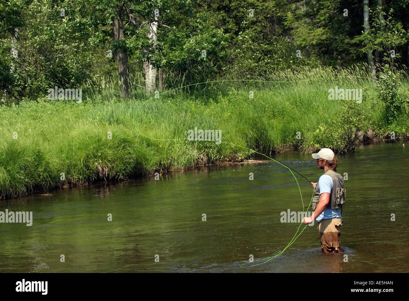 Fisherman flyfishing on Little Manistee River in Michigan