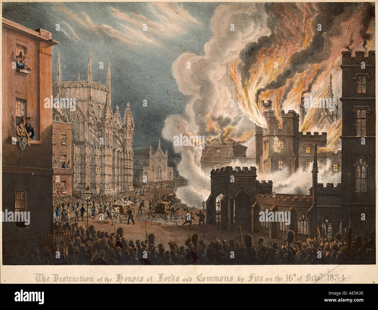 Fires Westminster 1834 - Stock Image