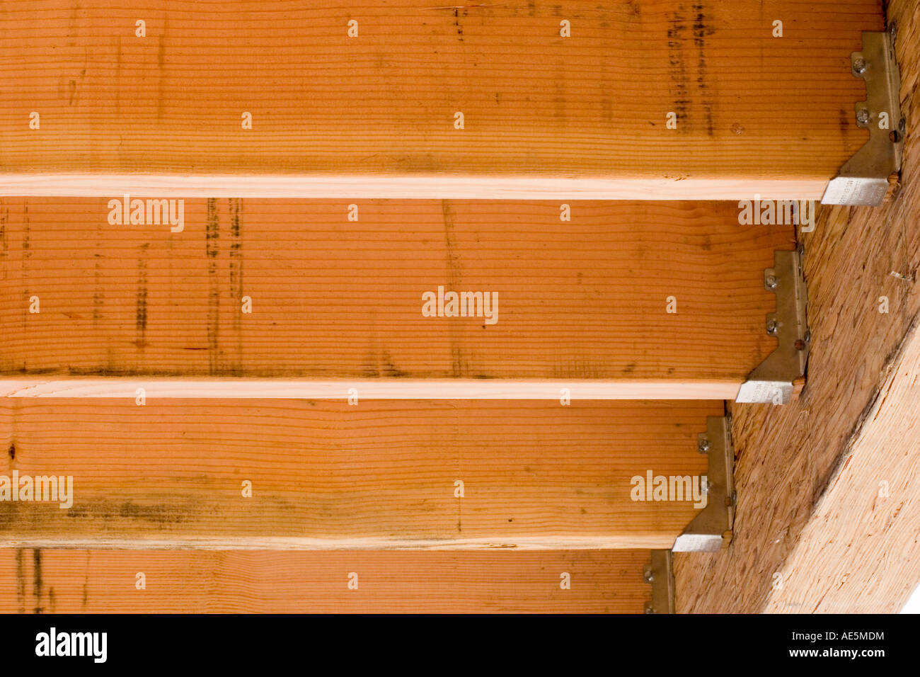 Floor joists attached to beam with joist hangers at a residential