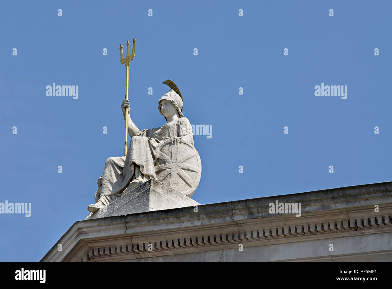 Sculpture of Britannia on the west wing of Somerset House home of the Inland Revenue London England United Kingdom - Stock Image
