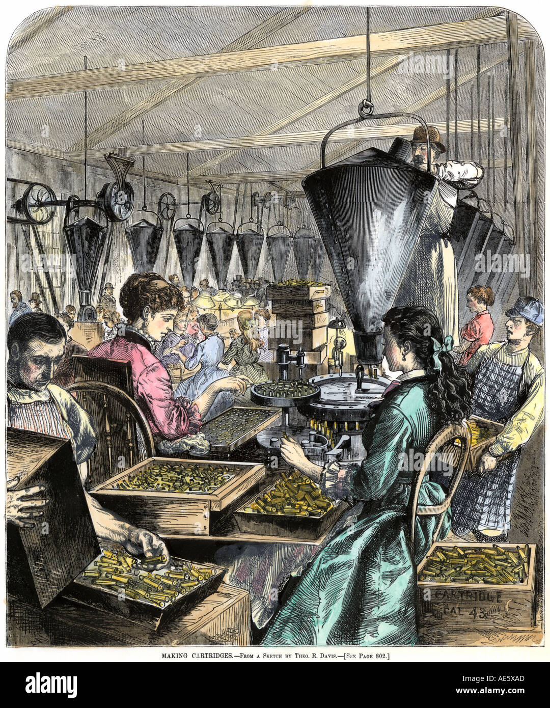 Factory workers making rifle cartridges 1870s. Hand-colored woodcut - Stock Image