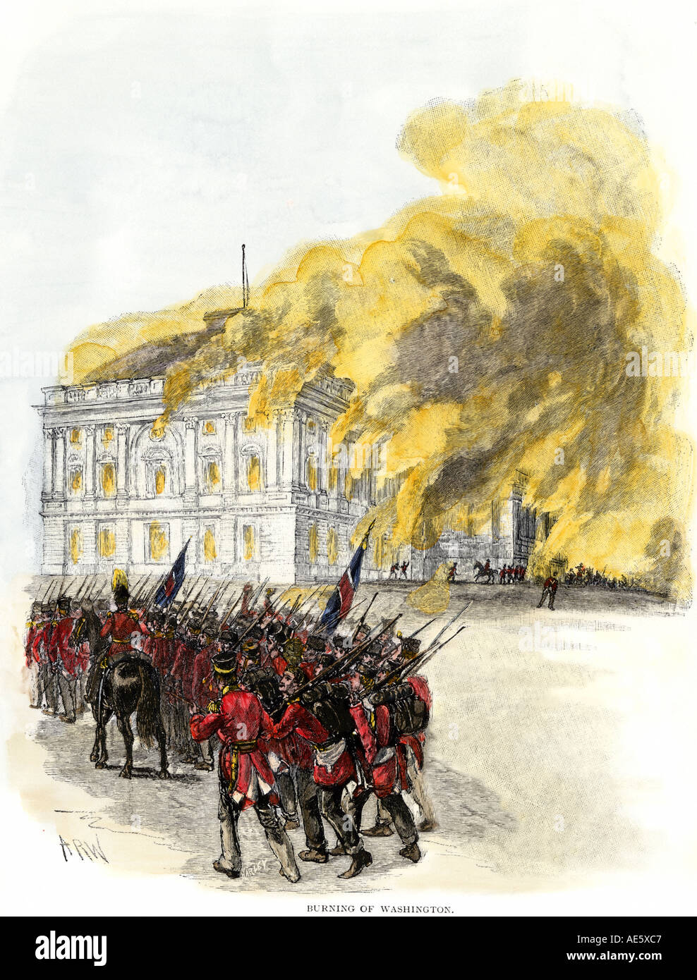British army burning the White House in 1814 during the War of 1812.  Hand-colored woodcut