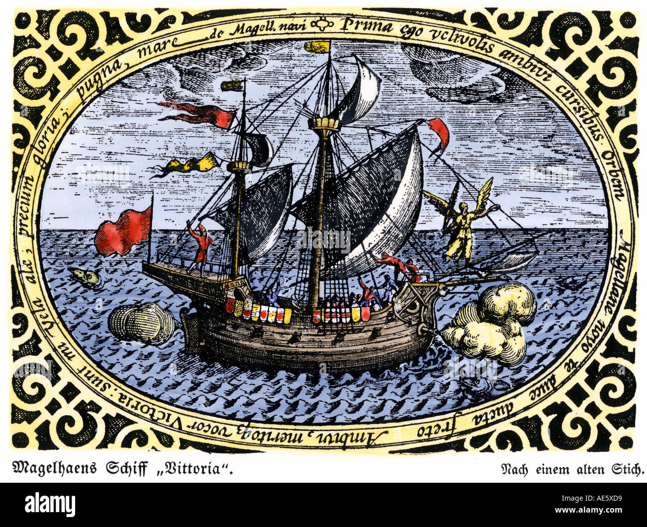 Ship Victoria of Magellan expedition which circumnavigated the earth 1519 to 1521. Hand-colored woodcut - Stock Image