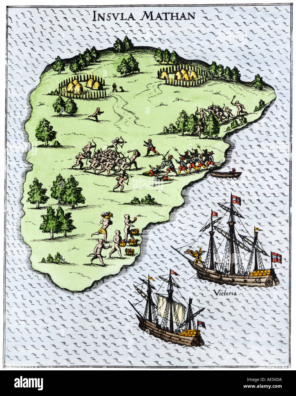 Magellan expedition ships at Mactan, Philippines, where Magellan was killed in a battle with natives, 1521. Hand-colored woodcut of Pigafetta illus. - Stock Image