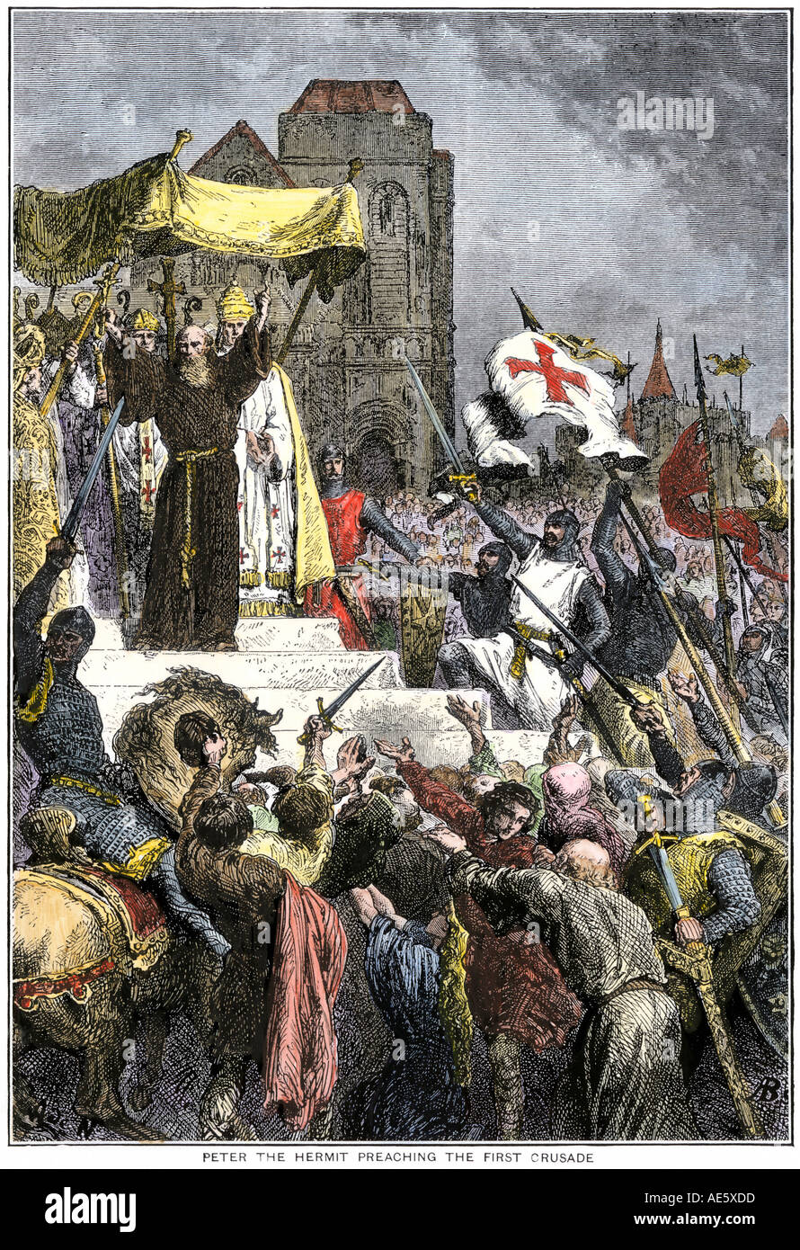 Peter the Hermit preaching the First Crusade before Pope Urban II 1095. Hand-colored woodcut - Stock Image