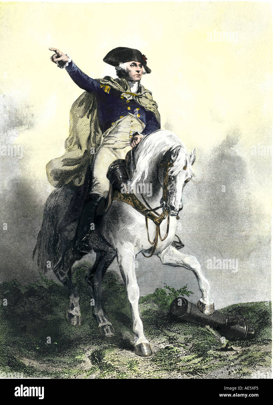 General George Washington in battlefield on a horse American Revolution. Hand-colored steel engraving - Stock Image