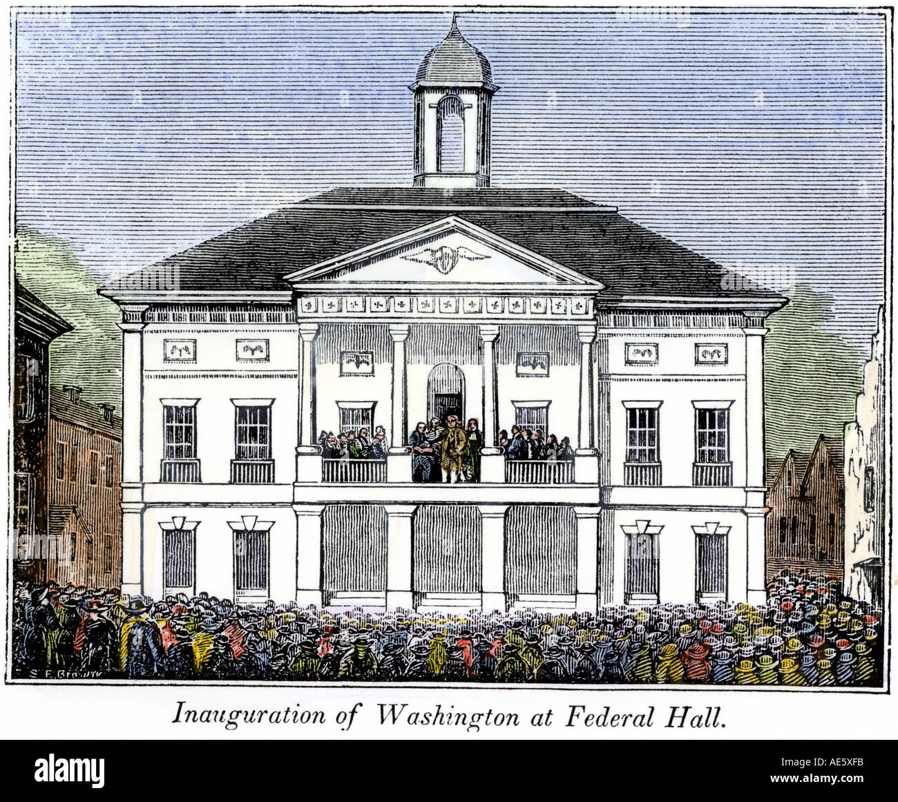 Federal Hall New York during George Washington inauguration as first US President 1789. Hand-colored woodcut - Stock Image