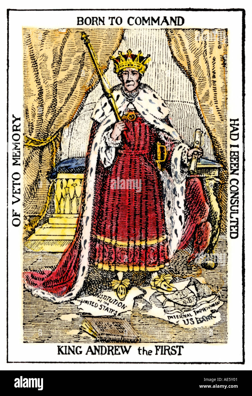 Cartoon of President Andrew Jackson as King Andrew the First. Hand-colored woodcut - Stock Image