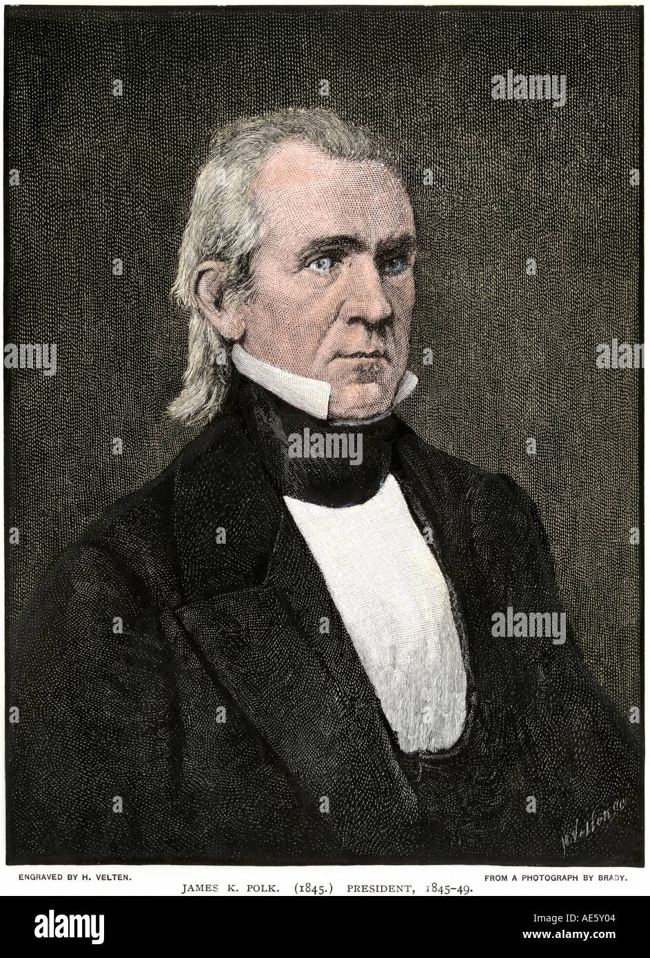 President James K Polk portrait. Hand-colored woodcut - Stock Image
