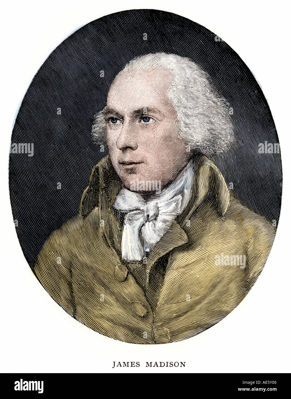 James Madison portrait in oval. Hand-colored woodcut - Stock Image