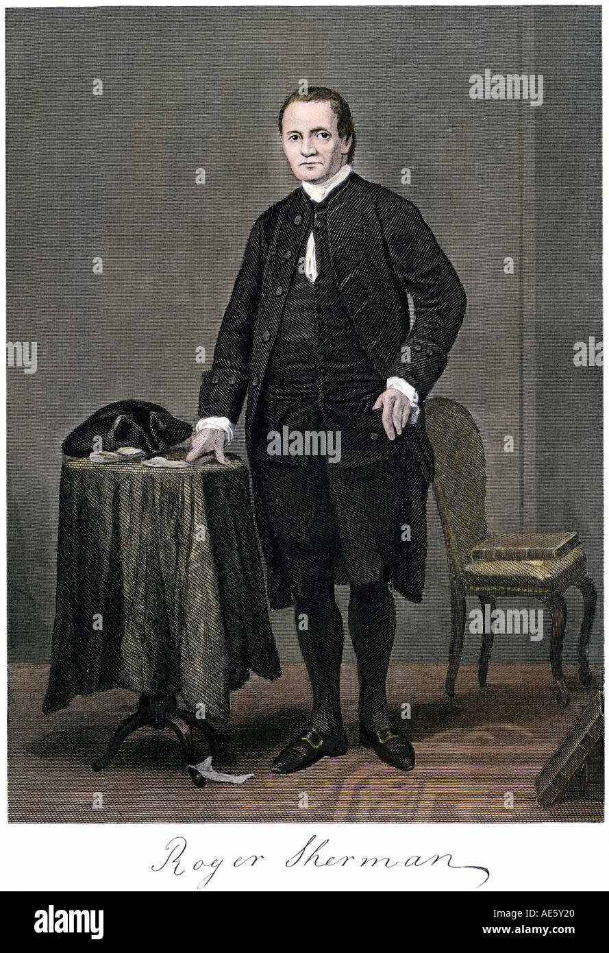 Roger Sherman full portrait with his signature. Hand-colored steel engraving - Stock Image