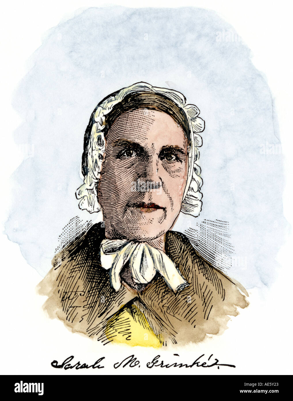 Sarah Moore Grimke portrait with autograph. Hand-colored woodcut Stock Photo