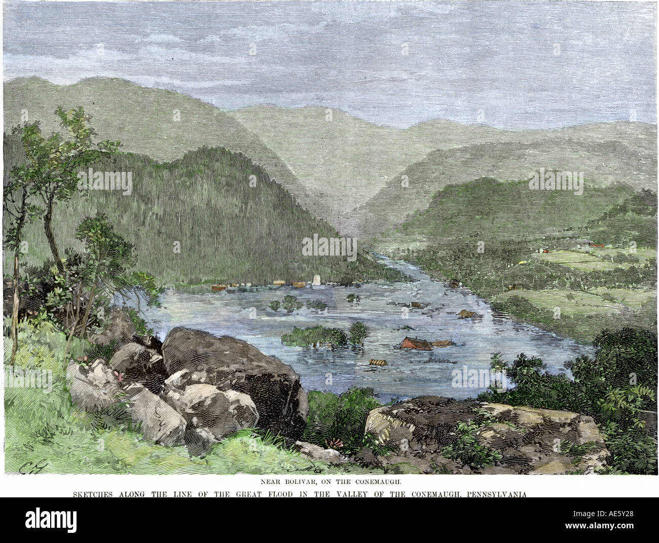 Valley of the Conemaugh River after the great flood at Johnstown Pennsylvania 1889. Hand-colored woodcut - Stock Image