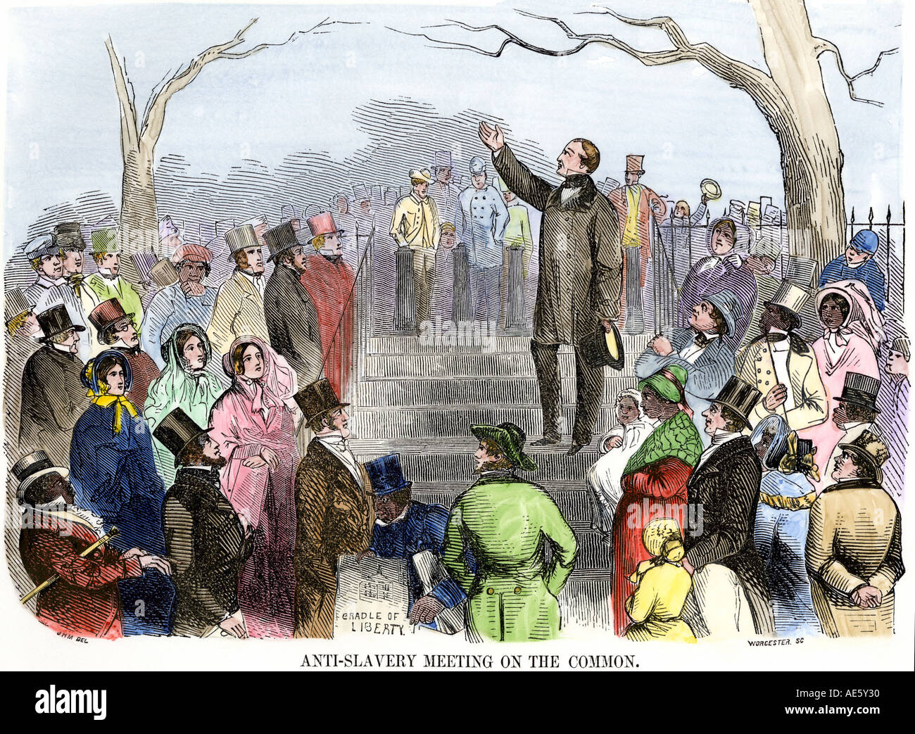 Wendell Phillips speaking against slavery on Boston Common 1850s. Hand-colored woodcut - Stock Image