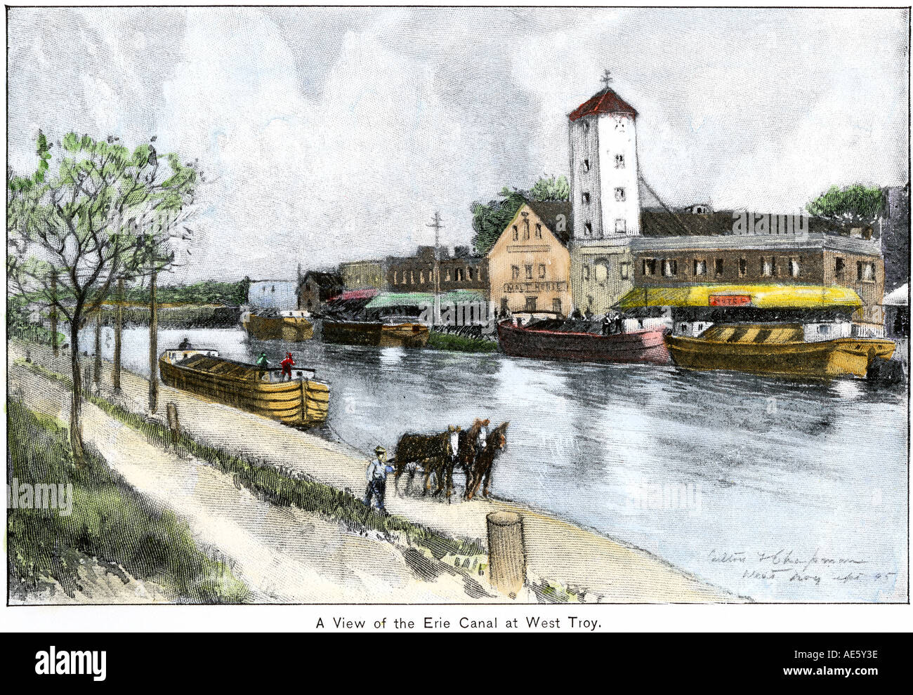 Erie Canal at West Troy New York late 1800s. Hand-colored halftone of an illustration - Stock Image