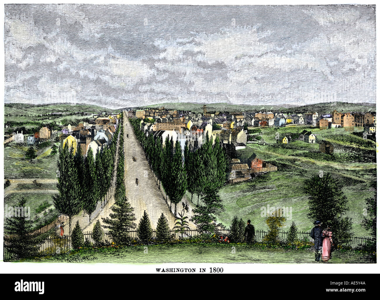 Washington DC in 1800 looking down Pennsylvania Avenue from the Capitol grounds. Hand-colored woodcut - Stock Image
